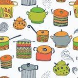 Leuke kokende potten en het van letters voorzien Naadloos patroon Royalty-vrije Stock Afbeeldingen