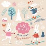 Leuke konijnen en de winter grachic elementen Stock Afbeeldingen