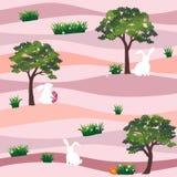 Leuke konijnen met paaseieren in het tuin naadloze patroon op pastelkleurachtergrond, voor gelukkige vakantie royalty-vrije illustratie