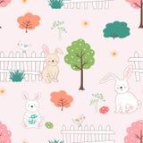 Leuke konijnen met paaseieren in het tuin naadloze patroon voor jong geitjeproduct, t-shirt, gift, druk, stof of textiel stock illustratie