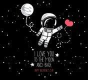 Leuke kosmische kaarten voor de dag van de valentijnskaart vector illustratie