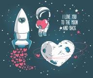 Leuke krabbel kosmische elementen voor de dagontwerp van de valentijnskaart Stock Foto