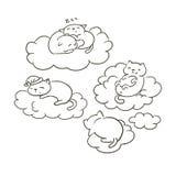 Leuke krabbel weinig katten vectorsletch het kleuren de wolkenslaap van boekdromen royalty-vrije illustratie