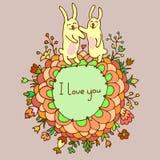 Leuke krabbelkaart met konijntjes in liefde vector illustratie