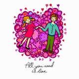 Leuke krabbelkaart met paar op liefde en bloemenachtergrond stock illustratie