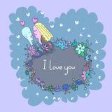 Leuke krabbelkaart met paar op liefde en bloemenachtergrond vector illustratie