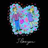 Leuke krabbelkaart met paar op liefde en bloemenachtergrond royalty-vrije illustratie