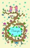 Leuke krabbelkaart met vogels op liefde en bloemenachtergrond stock illustratie