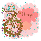Leuke krabbelkaart met vogels op liefde en bloemenachtergrond vector illustratie