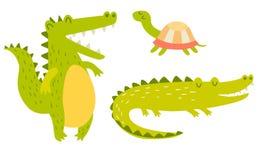 Leuke krokodillen en schildpadfamilie Vector illustratie stock illustratie