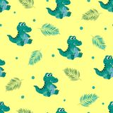 Leuke krokodillen op gele achtergrond vector illustratie