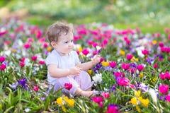 Leuke krullend weinig babyzitting tussen de lentebloemen stock afbeelding