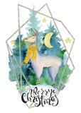 Leuke lama in groene getrokken vrolijke Kerstmisillustratie van de sjaalwaterverf hand stock illustratie
