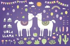 Leuke lama's romantische vectorreeks royalty-vrije illustratie