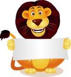 Leuke leeuw en leeg teken Stock Afbeeldingen