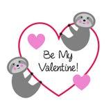 Leuke luiaarden met valentijnskaarthart royalty-vrije illustratie