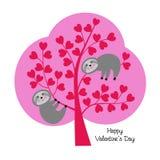 Leuke luiaarden in valentijnskaartboom stock illustratie