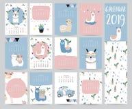 Leuke maandelijkse kalender 2019 met lama, bagage, geometrische cactus, vector illustratie