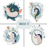 Leuke magische inzameling met prinses, eenhoorn, regenboog, draak Royalty-vrije Stock Afbeelding