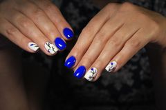 Leuke manicure op vrouwelijke handen Royalty-vrije Stock Foto