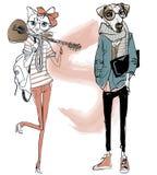 Leuke manier hipster hond en kat royalty-vrije illustratie