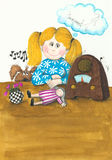 Leuke meisje en hond die aan de uitstekende radio luisteren Royalty-vrije Stock Foto's