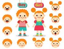 Leuke meisje en jongen met gezichten die verschillende emoties tonen Stock Foto