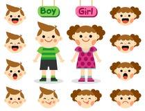 Leuke meisje en jongen met gezichten die verschillende emoties tonen Stock Afbeelding