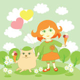 Leuke meisje en kat met roomijs Stock Foto