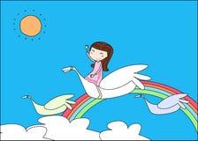 Leuke meisje en vogel royalty-vrije illustratie