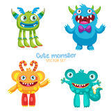 Leuke Monsters Vectorreeks Lucky Cartoon Mascot Illustration Stock Foto