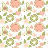 Leuke mooie het patroon van de beeldverhaalzomer naadloze vectorillustratie als achtergrond met hand getrokken avocado, watermelo stock illustratie