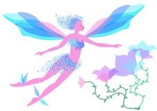 Leuke mooie magische vliegende fee stock illustratie
