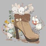 Leuke mouses in laars royalty-vrije illustratie