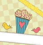 Leuke Muffin met Vogels Stock Foto's
