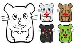 Leuke muis met hart in poten stock illustratie