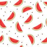 Leuke naadloze achtergrond met watermeloenplakken Stock Foto's