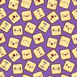 Leuke naadloze het patroonachtergrond van het smileygezicht emoticons emoji Vlakke ontwerpvector royalty-vrije illustratie