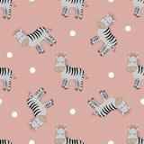 Leuke naadloze patern van Zebras stock illustratie