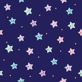 Leuke naadloze patroonachtergrond met de sterren van beeldverhaalkawaii Voor jonge geitjeskleren, pyjama'sontwerp stock illustratie