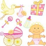 Leuke Nieuw - de geboren grafische elementen van het babymeisje. Stock Foto's