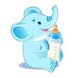 Leuke olifant met melkfles Welkom babyjongen Stock Afbeeldingen