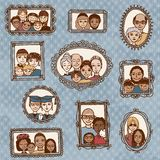 Leuke omlijstingen met familieportretten Royalty-vrije Stock Foto's