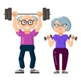 Leuke oude man en oude vrouw die geschiktheidsoefeningen met domoren samen doen en barbell vector illustratie
