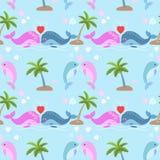 Leuke paarwalvis in liefde in blauw overzees patroon royalty-vrije illustratie