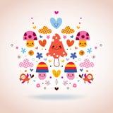 Leuke paddestoelen, bloemen, harten & vogelsillustratie Stock Foto