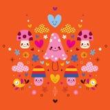Leuke paddestoelkarakters, bloemen, harten & vogels gestileerde aardillustratie Stock Fotografie