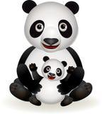 Leuke panda en babypanda vector illustratie