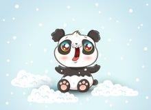 Leuke panda op sneeuw royalty-vrije illustratie