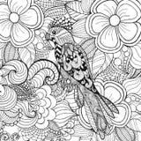 Leuke papegaai in fantasiebloemen Royalty-vrije Stock Afbeeldingen
